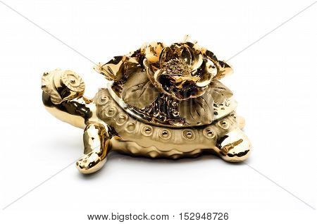 Porcelain golden turtle isolated on white background. The symbol of wealth and prosperity.