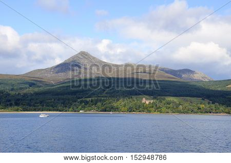 Brodick castle on the Isle of Arran with Goatfell behind