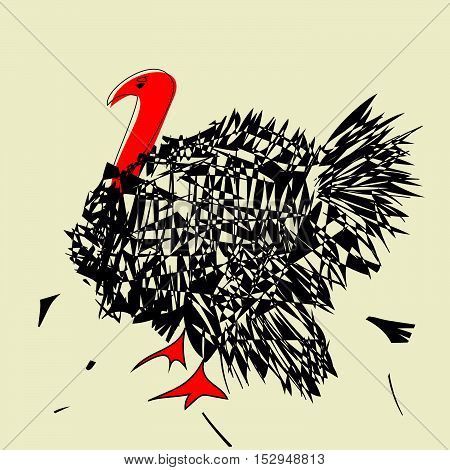 angry turkey  with red neck on beige background