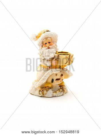 Ceramic candle holder in the form of Santa Claus isolated on white.