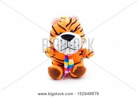 Toy teddy tiger isolated on white background.
