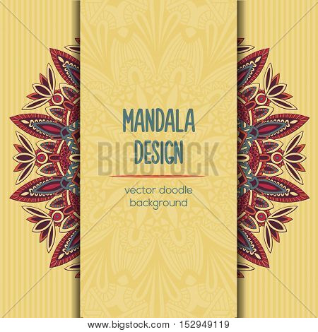 Vector Tribal Business Card. Mandala Design. Ornamental Doodle Background.
