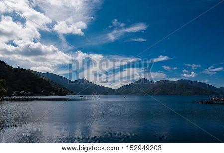 view Lake Chuzenji in Autumn, in Oku-nikko, Japan