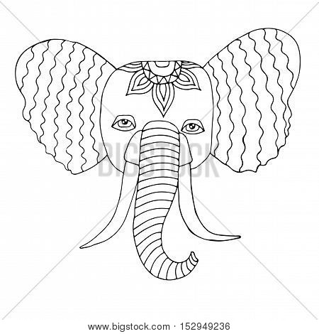 Head of elephant in the abstract ornament for doodle coloring page. Vector illustration isolated on white background.