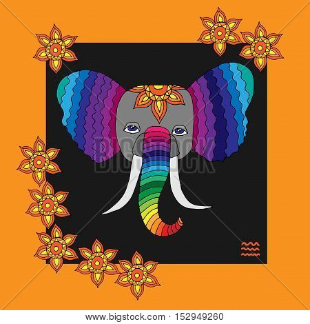 Rainbow color head of elephant with abstract flower. Vector illustration isolated on white background.