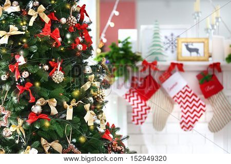 Decorated Christmas tree at home
