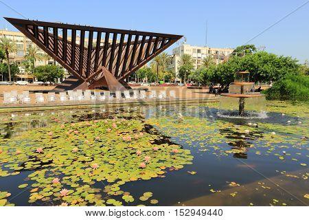 Fountain in Rabin Square, Tel Aviv, Israel