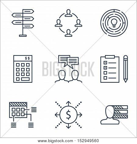 Set Of Project Management Icons On Discussion, Reminder And Innovation Topics. Editable Vector Illus