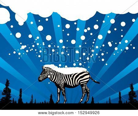 Abstract winter background with zebra silhouette, vector illustration