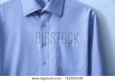 Clean male shirt, closeup