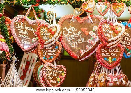 Gingerbread Hearts at German Christmas Market. Nuremberg, Munich, Fulda xmas market in Germany.
