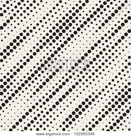 Vector Seamless Black and White Diagonal Halftone Circle Lines Pattern