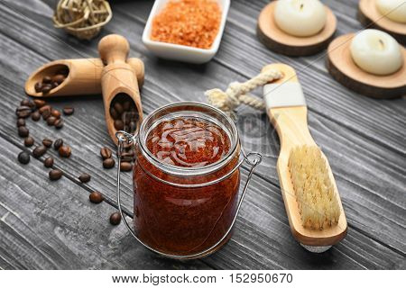 Still life with coffee scrub on wooden background