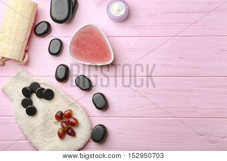 Still life with body scrub on wooden background