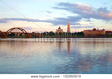 The river Volga in the in the center of the city of Rybinsk in July twilight. Russia