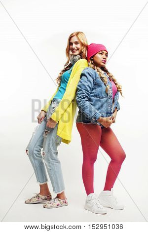 diverse nations concept: african-american and caucasian teenage girls slim and fat, tall and short diversity in everything, friends having fun together happy smiling, lifestyle modern people concept close up