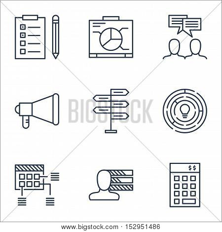 Set Of Project Management Icons On Reminder, Schedule And Innovation Topics. Editable Vector Illustr