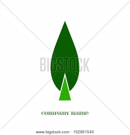 Vector Green Leaf symbol isolated over white.