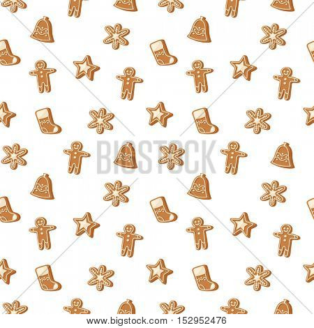 Christmas cookie seamless pattern vector icon