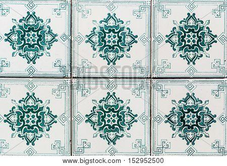 Lisbon Portugal - January 18 2016 - Colorful Moroccan Portuguese tiles Azulejo ornaments.
