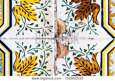 Lisbon Portugal - January 19 2016 - Traditional ornate portuguese decorative tiles azulejos