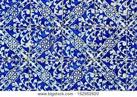 Lisbon Portugal - January 19 2016 - Colorful Moroccan Portuguese tiles Azulejo ornaments.
