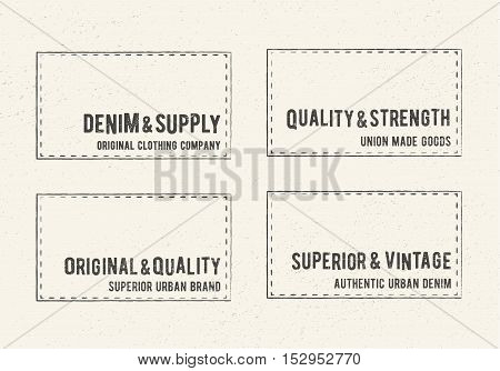 Vintage logo square stamps. Printing and badge applique label t-shirts, jeans, casual wear. Vector illustration.