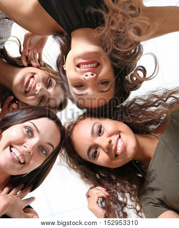Beautiful girls happy together