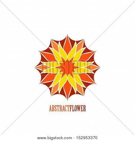 Vector Abstract Color Flower Mandala Icon isolated over white background. Invitation element. Tattoo, astrology, alchemy, boho, logo and magic symbol for your projects. Easy use and recolor.