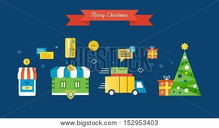 The complete cycle of the passage of the buying process: product selection, payment, delivery of goods, review the services online store, Christmas gifts and Christmas mood. Vector illustration.