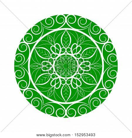 Vector green color flower mandala over white. Invitation element. Tattoo, astrology, alchemy, boho and magic symbol for your projects.