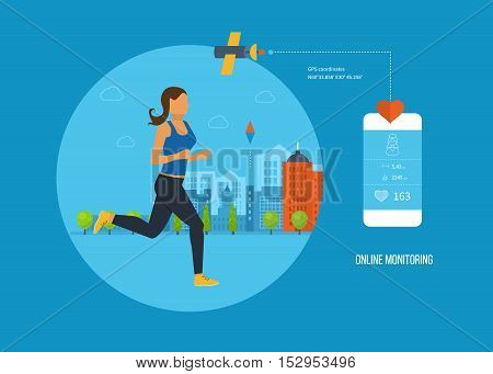 Concept illustration - GPS-navigation, search and route planning, information technology, communication with the satellite, online monitoring, a healthy lifestyle, athletics. Vector illustration.