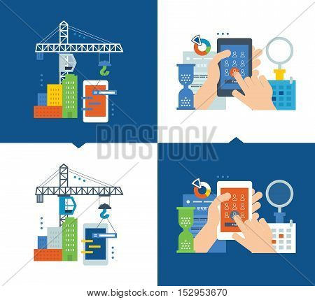 Concept - development of applications and software, marketing and market research. Vector illustrations are shown on a light and dark background. Can be used in the form of brochures, flyers.