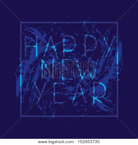 New Year. Festive banner or poster with the phrase happy new year. Vector illustration. 2017.