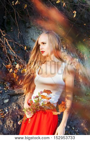 girl, fall, long hair, autumn, red orange leaves branches mood smiling delight