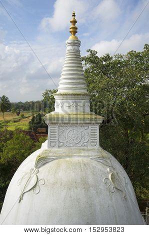Apex of the old Dagoba in the Palace Isurumuniya. Anuradhapura, Sri Lanka