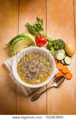 soup vegetable with quinoa mix