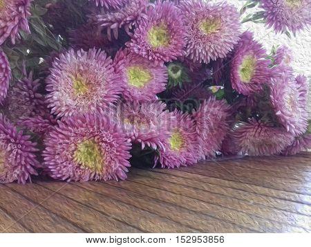 Flowers oil paints. Oil Painting. Pink flowers.