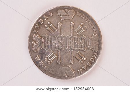 Silver ruble coin 1729 Russian emperor Peter II Autocrat downside