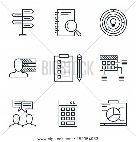 Set Of Project Management Icons On Investment, Schedule And Reminder Topics. Editable Vector Illustr