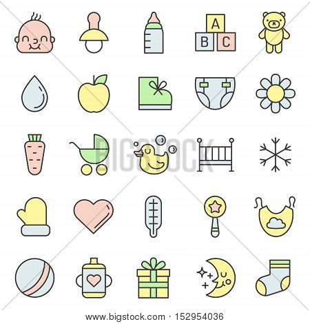 Baby (girl and boy) things outline multicolored cute icon vector set. Clean and simple design.
