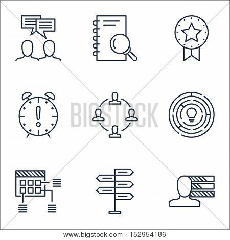 Set Of Project Management Icons On Time Management, Analysis And Collaboration Topics. Editable Vect