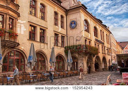 MUNICH, GERMANY - CIRCA SEPTEMBER 2014: Exterior of Hofbraeuhaus beer house in Munich