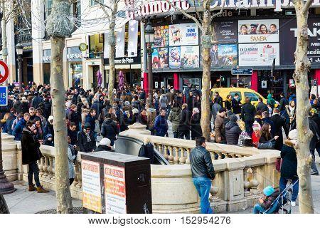 PARIS, FRANCE - DECEMBER 2015: Champs Elysees in December, France
