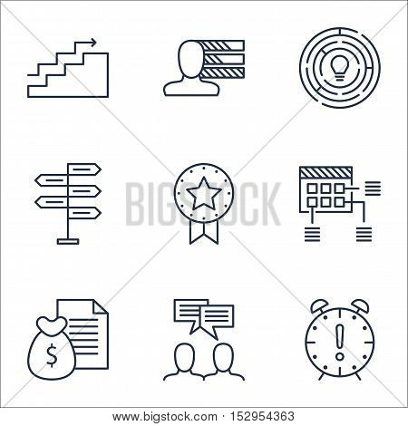 Set Of Project Management Icons On Personal Skills, Opportunity And Innovation Topics. Editable Vect