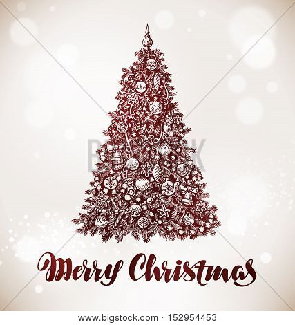 Merry Christmas. Xmas tree with decorations. Vector