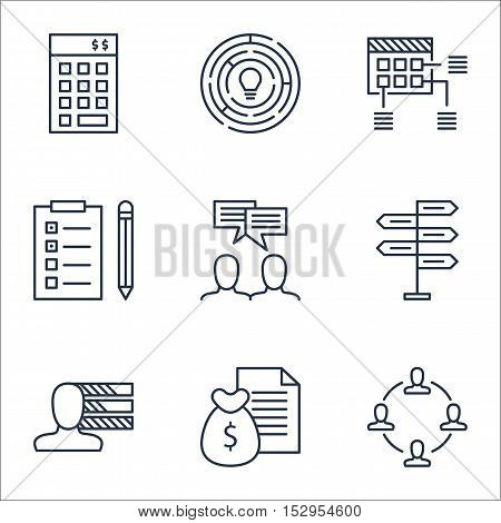 Set Of Project Management Icons On Innovation, Investment And Discussion Topics. Editable Vector Ill