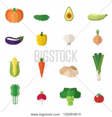 Vegetable icons cute flat vector set. Isolated objects.