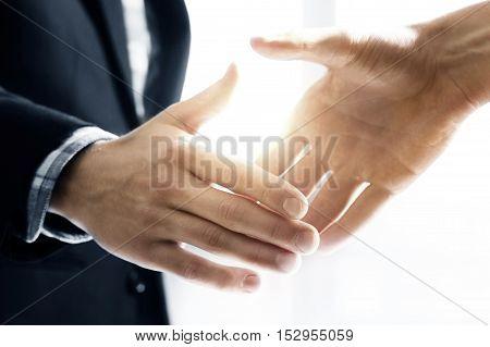 Handshake. business deal closed concept. Agreements met. Congratulatory handshake