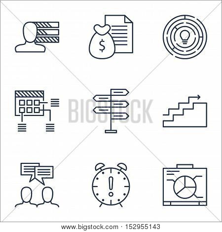 Set Of Project Management Icons On Discussion, Schedule And Personal Skills Topics. Editable Vector